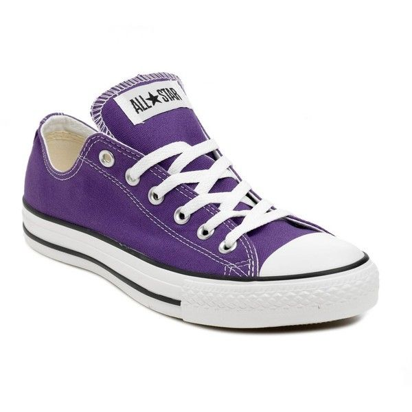 Purple low rise canvas trainers liked on Polyvore