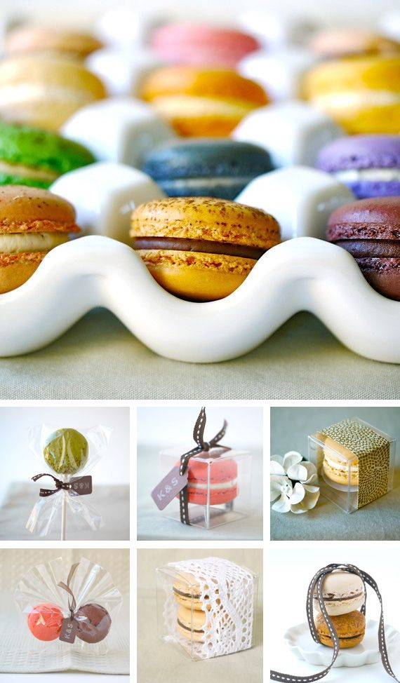 Macaron favors-- great for wedding or baby showers- love the packaging ideas on this one