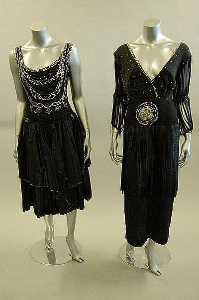 Two circa 1920s black cocktail dresses; the first of black silk crepe ...