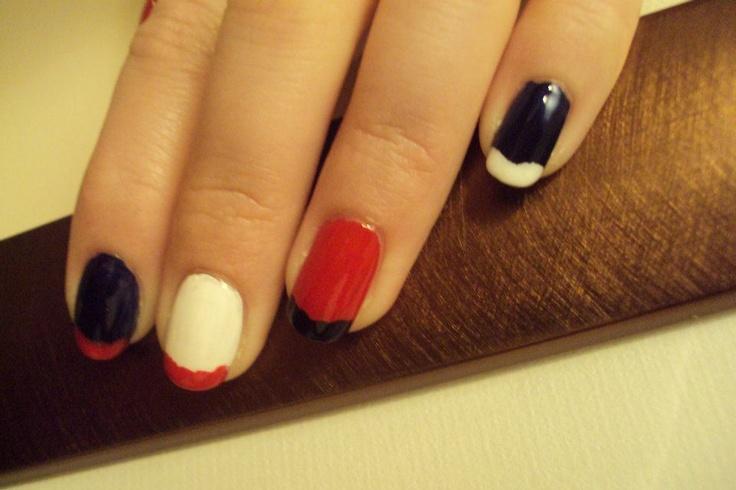 Red, white & blue nail art | Nails | Pinterest