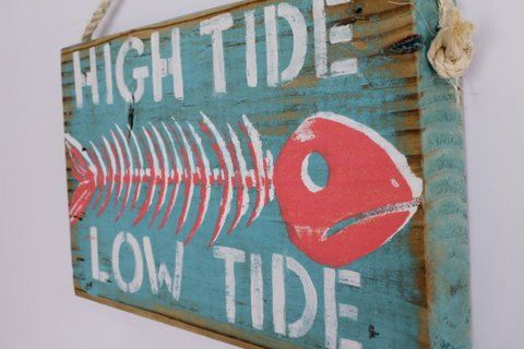 Custom High Tide Low Tide Beach Sign With Custom Colors And Fish Bone