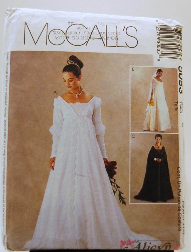 Uncut mccalls 3053 renaissance wedding dress gown for Empire waist wedding dress patterns