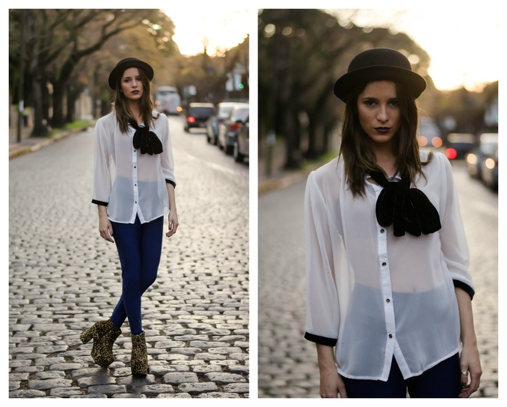 ★ LOOK OF THE DAY 05-06-2013 ★  · Camisa de Gasa con Moño de Terciopelo · Calzas Azules de Lycra · Monna Vip Print  -----------------------------------------------------------------  · White Chiffon Silk Shirt & Velvet Bow ·  Blue Leggings ·  Monna Vip Print