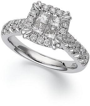 Macy's Princess Treasures Diamond Ring, 14k White Gold Princess-Cut ...