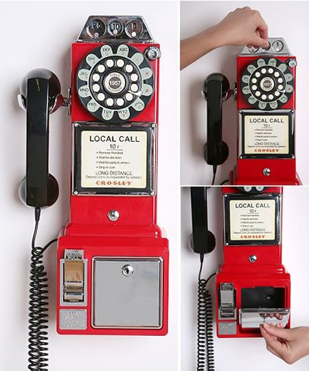 retro red pay phone.