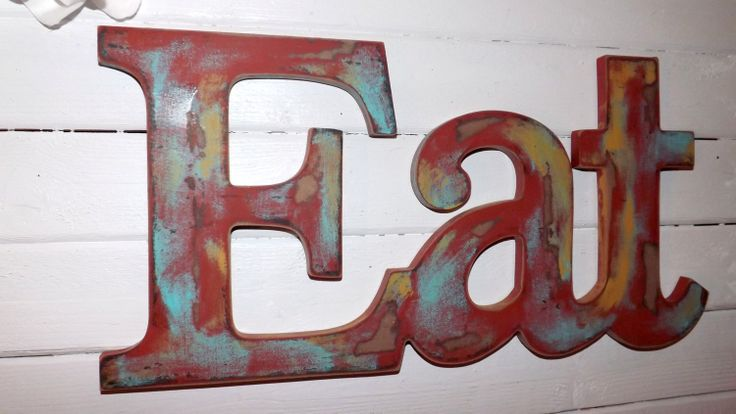 Eat sign kitchen wall decor red shabby wall word for Red kitchen wall art