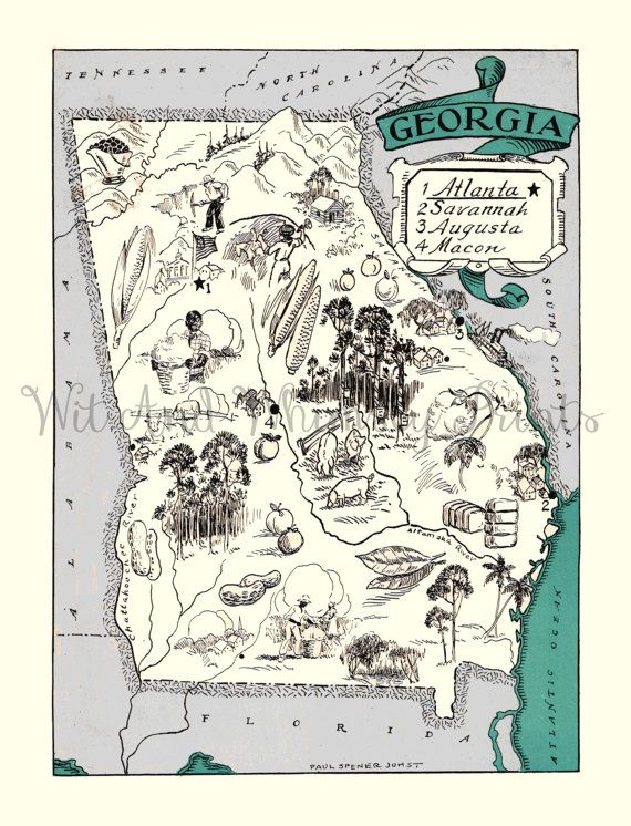 Vintage Map Of GEORGIA Archival Print Whimsical Adorable