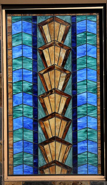 Art deco stain glass art deco delights pinterest for Art deco glass windows