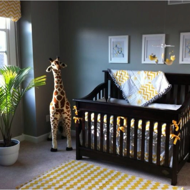 Yellow and grey nursery future little keeley - Gray and yellow baby room ...
