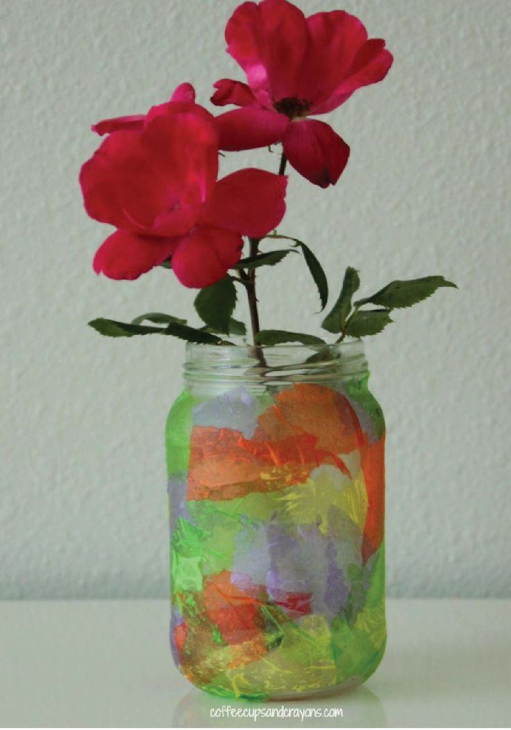 homemade tissue paper vase craft