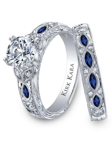 Sapphire and diamond wedding ring set Wedding