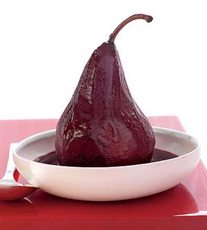 Spiced Red Wine-Poached Pears. Fresh pears simmered in a wine sauce ...