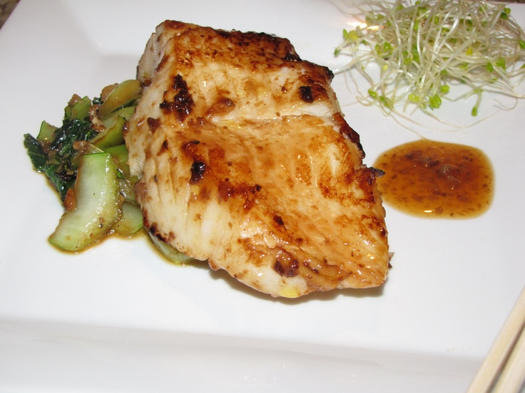 Wild caught sea bass with a ginger soy glaze and sauteed bok choy!