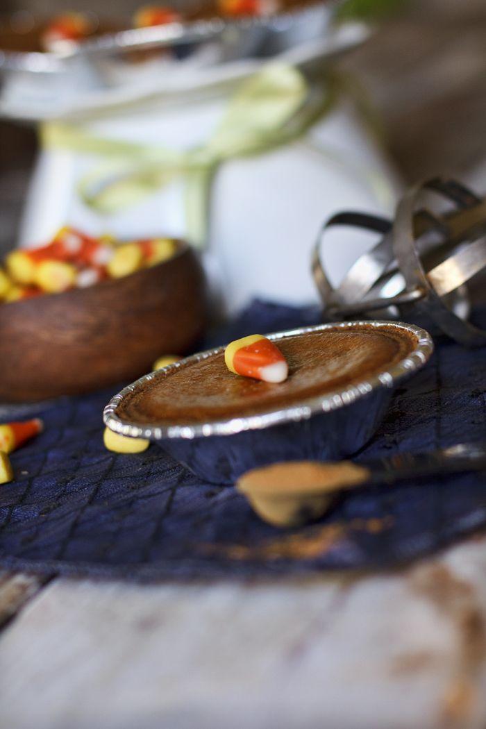 Miniature Pumpkin Pies with Graham Cracker Crust.