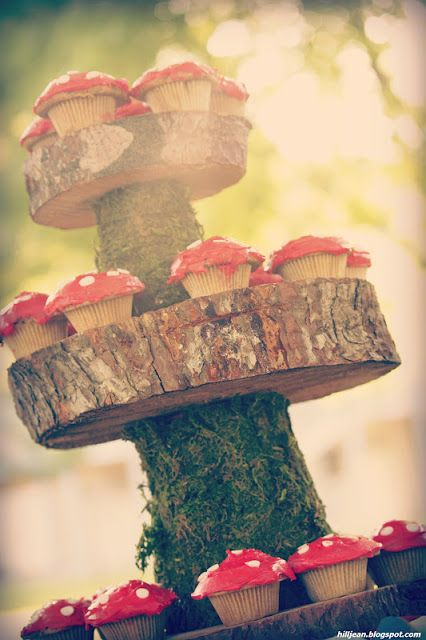woodland themed party mushrooms toad stools nature moss