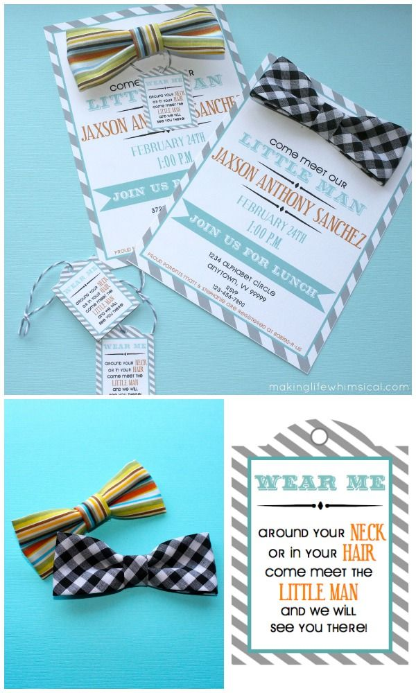 baby shower invites and have guests wear them in their hair or around