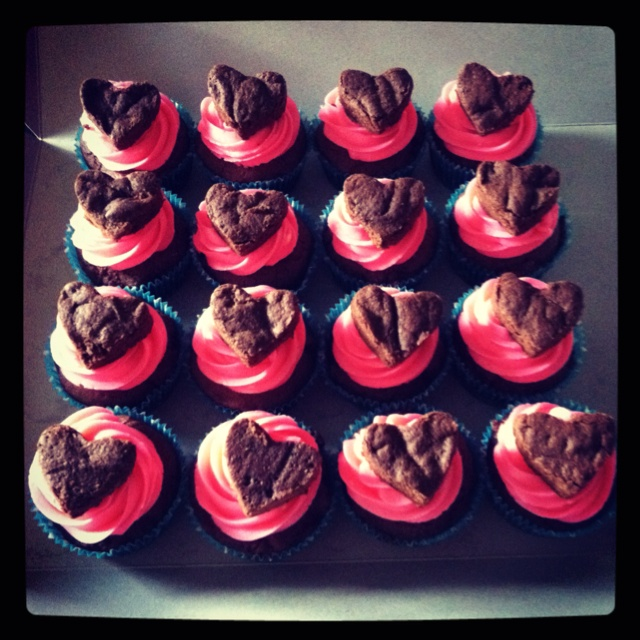 Brownie Cupcakes with Buttercream Frosting and Brownie Heart.