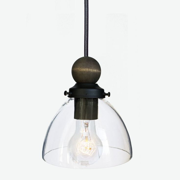 hand blown 6 clear glass and wood pendant light black