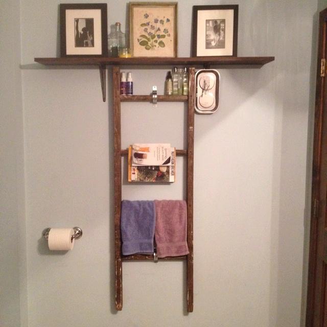 Bathroom ladder shelf new bathroom pinterest for Bathroom ladder shelf