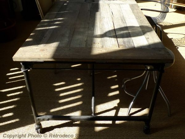 Table fer bois industriel bande transporteuse caoutchouc - Meubles pas chers en ligne ...
