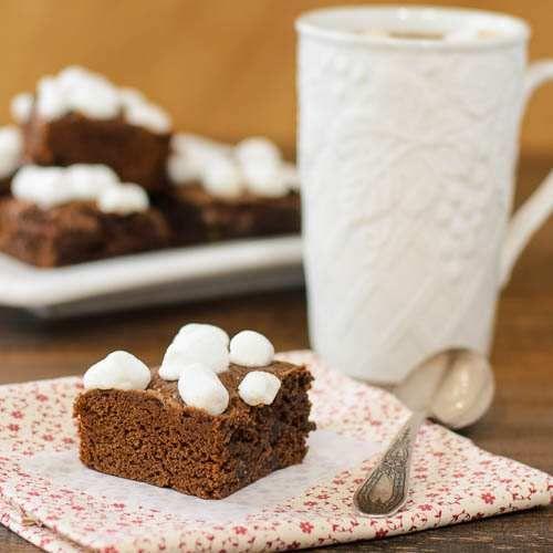 Decadent Chocolate Caramel Hot Cocoa Brownies