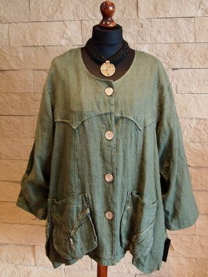 SARAH SANTOS Lagenlook Jacket Size L-XL-XXL Coral-Beige-Green