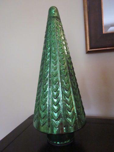 Vintage mercury glass christmas holiday tree green glitter