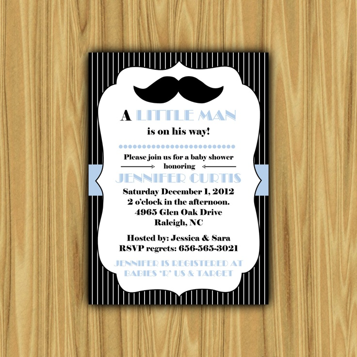 mustache baby shower invitations via etsy