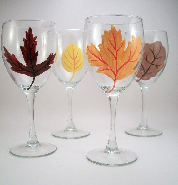 fall leaves hand painted wine glasses seasonal autumn