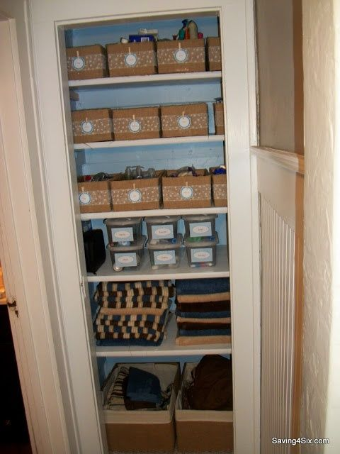 Pin by shannan le douma on a place for everything for Bathroom closet storage ideas