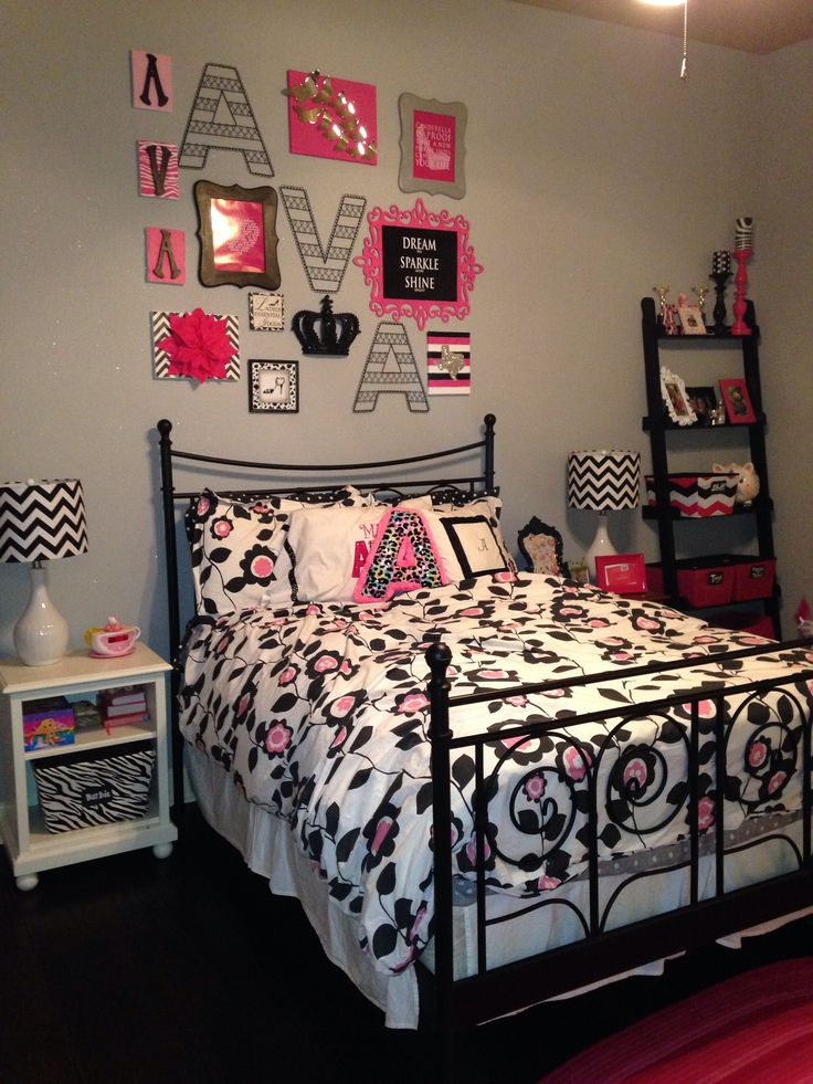 Black White Pink And Grey Girls Room Princess Room