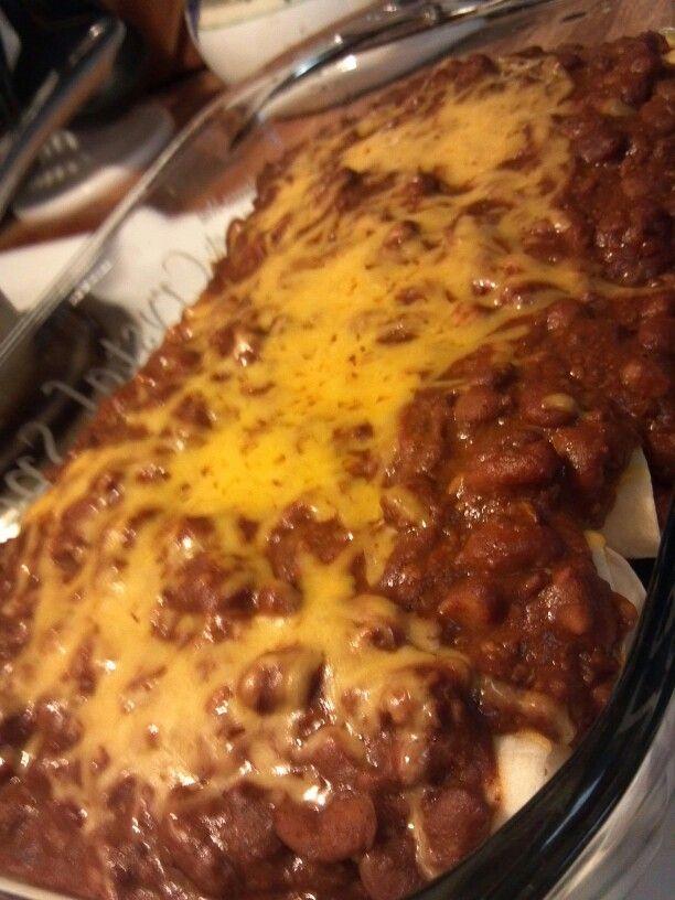 Chili dog casserole -or as Dale calls it - chili dog enchiladas