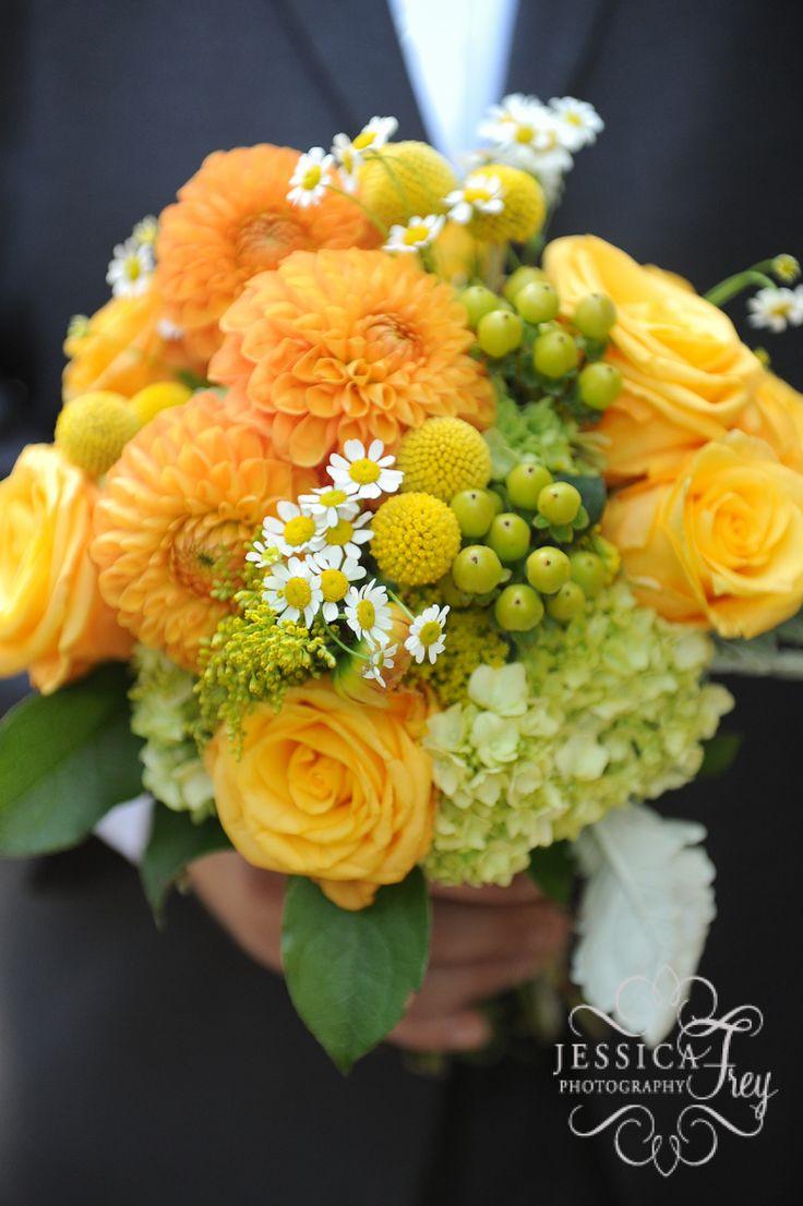 Wedding Flowers Orange And Yellow : Yellow orange and green bridal bouquet wedding flowers