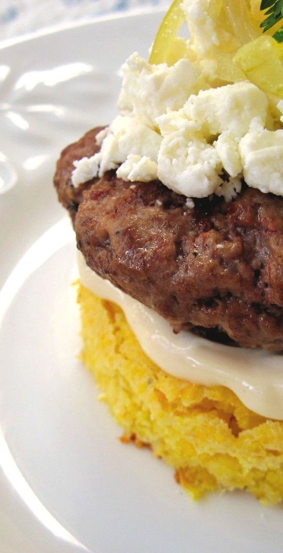 Burger on Roasted Garlic Corn Bread with Caramelized Onion and Feta ...