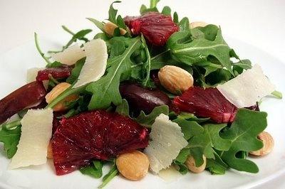 arugula, blood orange, almonds and dates salad - use raspberry vinegar ...