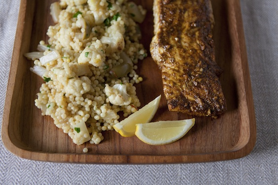 SAFFRON-SCENTED VEGETABLE COUSCOUS WITH NORTH AFRICAN-SPICED HALIBUT # ...