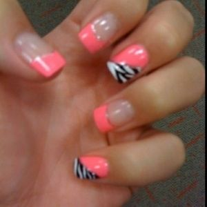 Acrylic nails, pink and zebra print | Nails | Pinterest