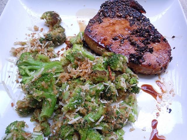 Sesame Crusted Ahi Tuna steaks with Broccoli Salad