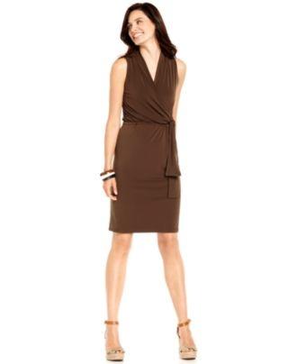 Charter Club Dress, Sleeveless Faux Wrap - Womens Dresses - Macy's