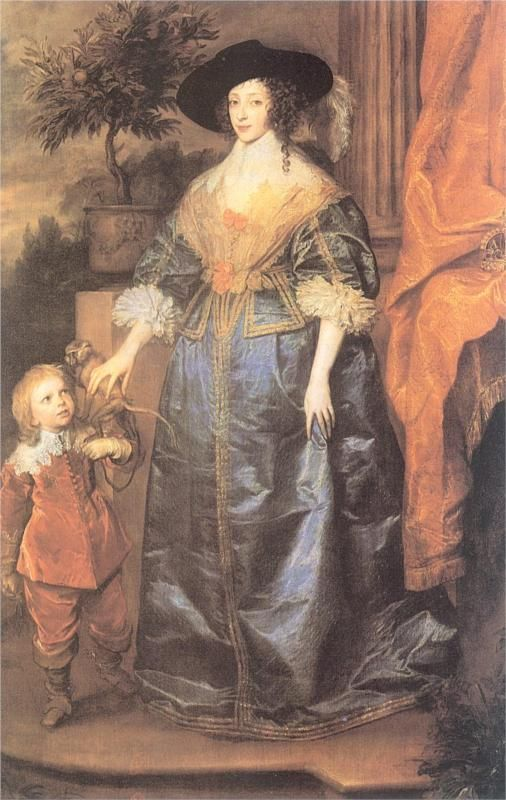 Queen Henrietta Maria and her dwarf Sir Jeffrey Hudson  by Anthony van Dyck  Completion Date: 1633  [Cavalier/ Early Baroque]