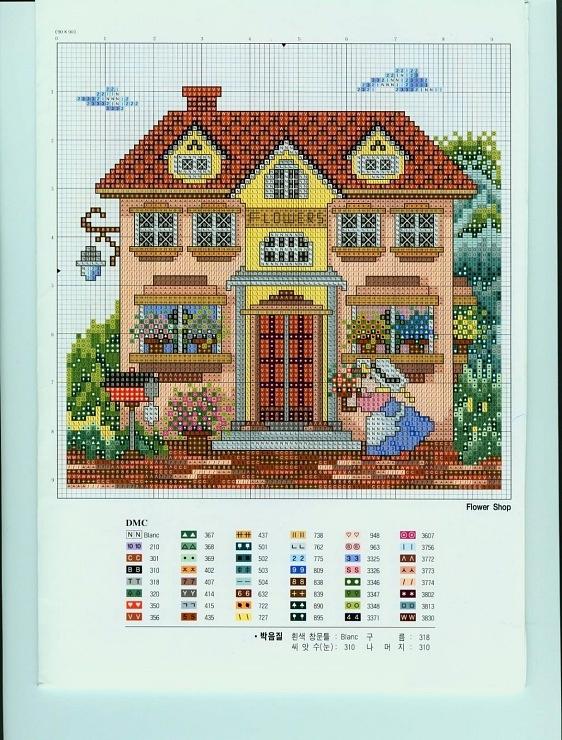 Схемы вышивки крестом дома 9