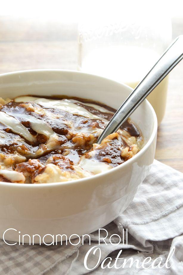 Cinnamon Roll Oatmeal - #Breakfast, #Desserts, #Food, #Recipes - FoodOMG.Com