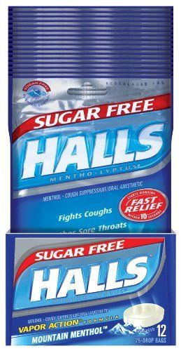 Halls Sugar Free Drops, Mountain Menthol, 25-Count Drops (Pack of 12) by Halls. $25.66. Sugar Free Cough Suppressant Drops Temporarily relieves a cough due to a cold.