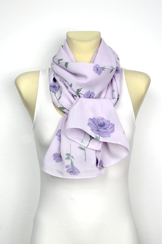Purple Floral Scarf  Fashion Scarf  Fabric Scarf  Women Shawl  Un  Fashion Scarf Fabric
