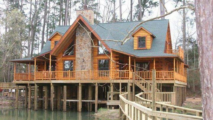 that s cool fish right off porch awesome log cabins