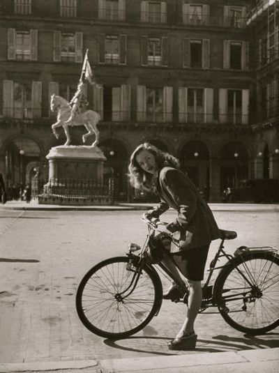 French actress Barbara Laage with her bike in Paris, 1946.