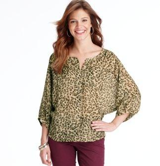 Sheer Cheetah Print Blouse 100