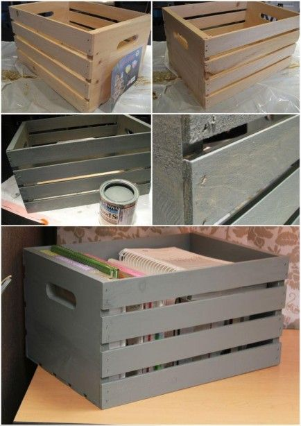 DIY painted crate from a craft store...NEED to do this for James' room for books--navy + white stripes!