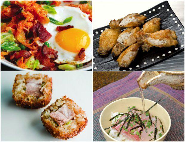 ... rice, Singaporean chicken rice wings, yellowtail sashimi over rice