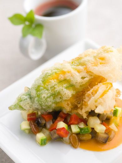 Three Cheese-stuffed Squash Blossoms with Gazpacho | Recipes | Western ...